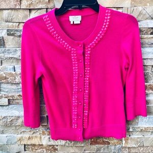 Kate Spade Hot Pink Studded Cardigan